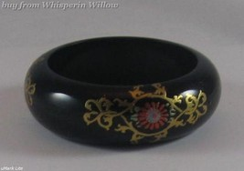 Black Wood Bangle with Painted Design - $21.95