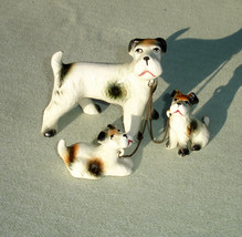 Vintage Fox Terrier Dog with Puppies Figurine - $35.64