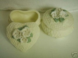 2 ivory bisque trinket candy favor box with cover - $3.00