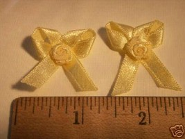 24 yellow satin bows and rose flower for wedding favors - $3.00