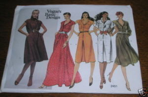 VOGUE PATTERN #2451 DRESS SZ 12 COMPLETE