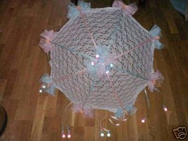 "32"" White Lace baby shower umbrella pink & blue - $20.00"