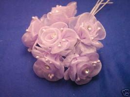 36 lavender  wedding bridal organza flower & rhinestone - $12.00