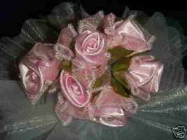 36 pink wedding bridal satin organza leaf flower - $6.00
