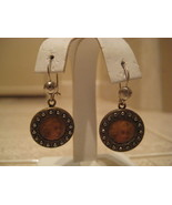VINTAGE HANDPAINTED BUTTON EARRINGS w/ GF french wires - $75.00