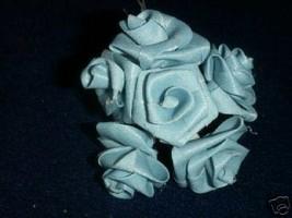 72 Large  Ribbon Roses wedding favor flower blue - $3.25