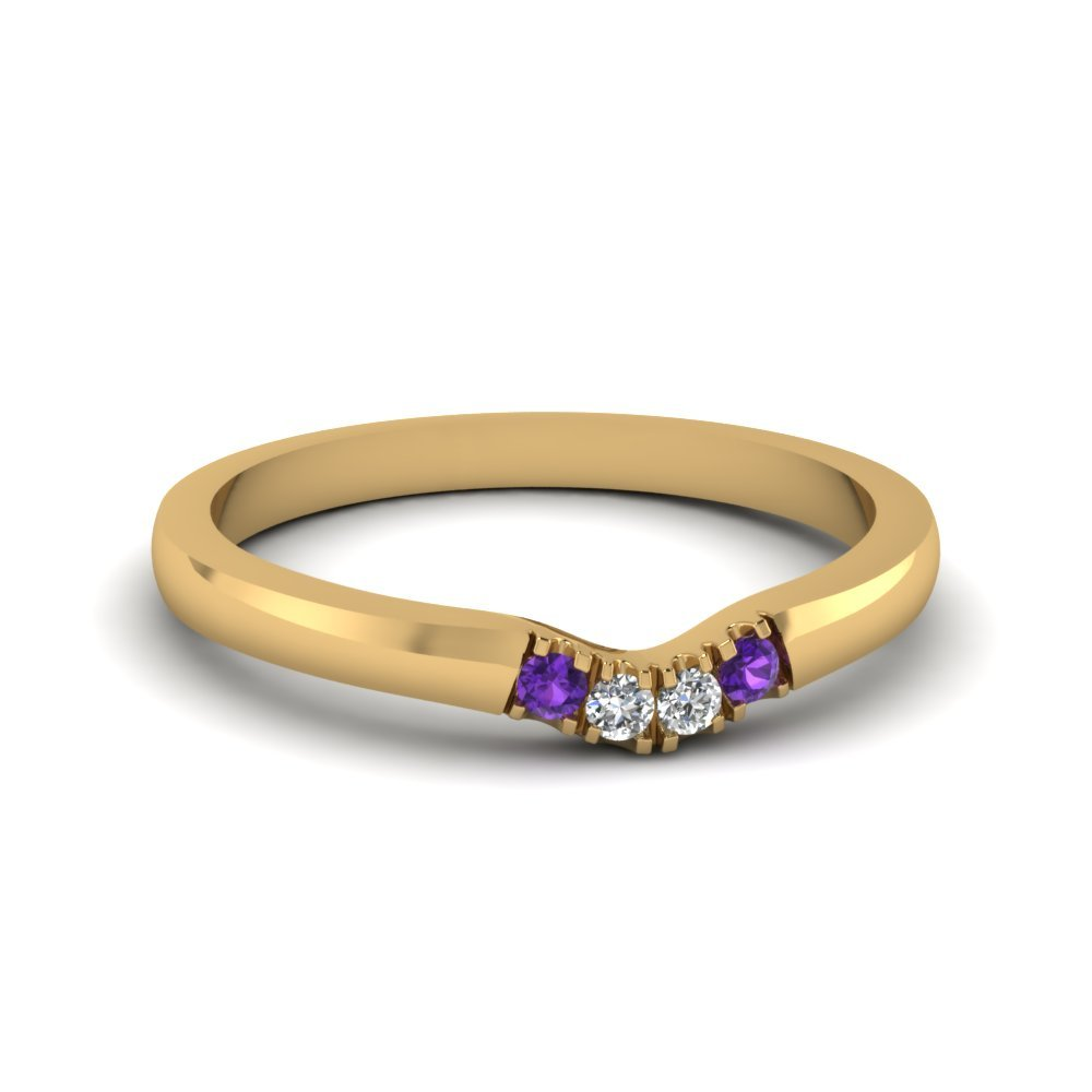 Primary image for Classic Purple Amethyst & CZ Diamond 14K Yellow Gold FN Curved Wedding Band Ring