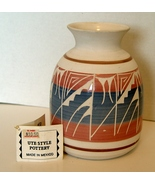 Vintage Navajo Ute Indian Mesa Verde Pottery Hand-Crafted Vase Blue, Wh... - $14.99