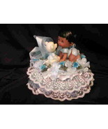 Baby Shower Cake Top Centerpiece Black Baby with Bear - $12.00