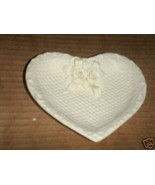 "Bisque Ivory Candy Dish rose pattern 6"" heart shape - $2.99"