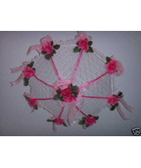 Bridal Shower Decorated umbrella parasol hot pink  - $22.00