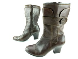 BORN (W6449) Brown Leather Zip Mid Calf Boots Heels Size 10 w/Airplus In... - $24.70