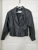 Maggie Lawrence Collection Black Leather Jacket Size Large 0450 - $48.20