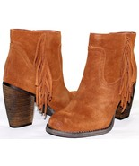 """❤️SBICCA Marimba Fringe Whiskey Premium Suede 3.5"""" Heel Zip Boot 8.5 M N... - $37.04"""