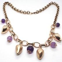 Collar Plata 925 ,Rosa, Amatista Violeta, Guindilla Domed Colgantes - $282.23