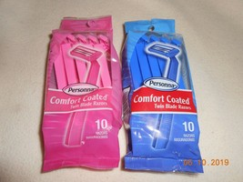 New lot 2 packs of 10 = 20 Personna comfort coated razors Pink & Blue lu... - $12.38