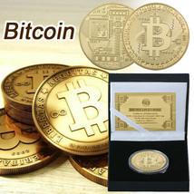WR BTC Gold Foil Bitcoin Coin Physical Collectible Gifts Souvenir In Bla... - $9.79