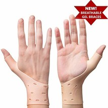 2 Premium Breathable Gel Wrist Support Braces with Thumb Stabilizer for ... - $18.28