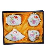 Set of 4 Porcelain Pill Boxes, Powder Boxes or Trinket Boxes Floral Design - $9.99