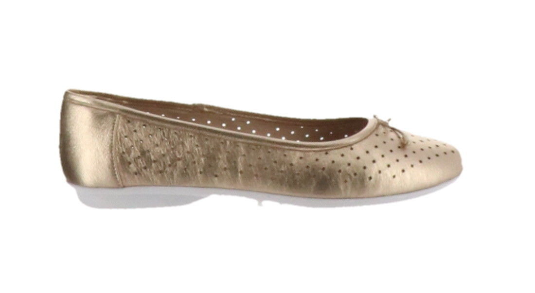 Clarks Perforated Leather Ballet Flats Gracelin Lea Metallic 9M NEW A306040