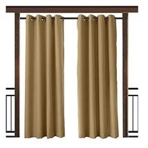 TWOPAGES Wheat Outdoor Curtain Waterproof Rustproof Grommet Drape 84 W x... - $70.21