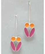 Orange Pink Enamel Silver Earrings Unique Drop Colorful Flower Pierced  - $70.00