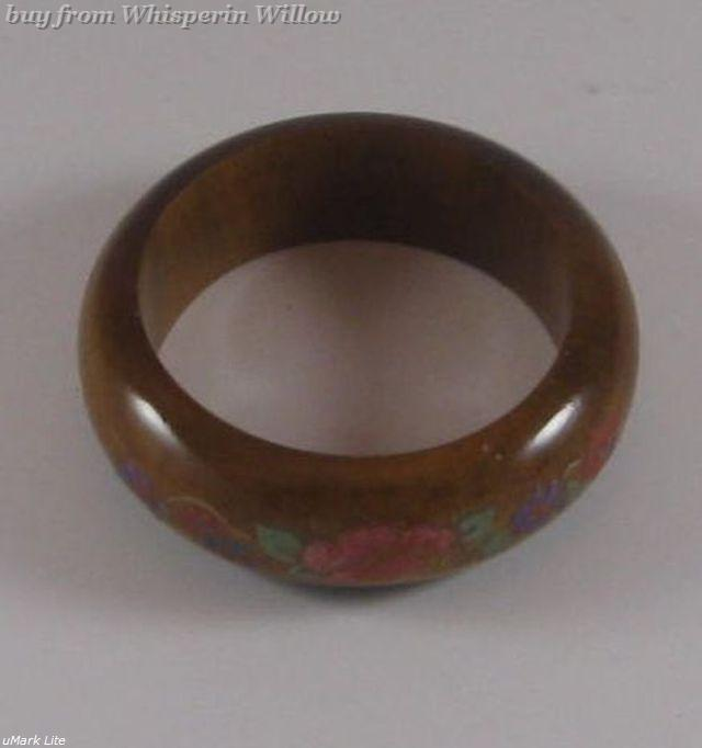 Wood bangle with floral design 1 4