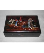 """Pretty Vintage 9 1/2"""" X 6"""" Lacquer Jewelry Box With Inlay Girls - $114.96"""