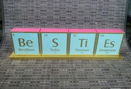 Chemical Elements Wooden Mantel Desk Plaque Pink/Gold/Mint Green - $7.50