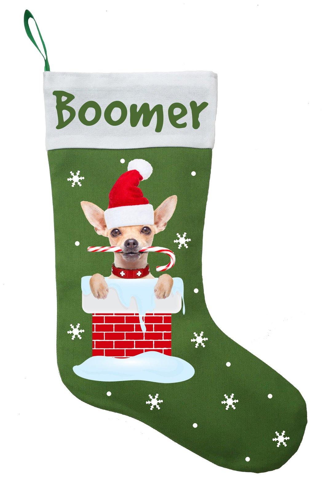 Chihuahua Christmas Stocking - Personalized Chihuahua Stocking - Green