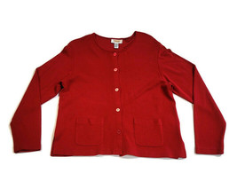Talbots Petites Women's Red Button-Front Cardigan Sweater Jacket Size Pe... - $17.81