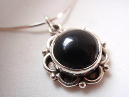 Black Onyx 925 Silver Round Necklace Corona Sun Jewelry - $21.87