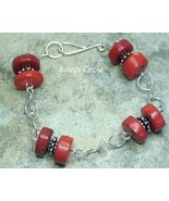 Red Coral & Argentium Sterling Silver Chain Style Bracelet - $30.99