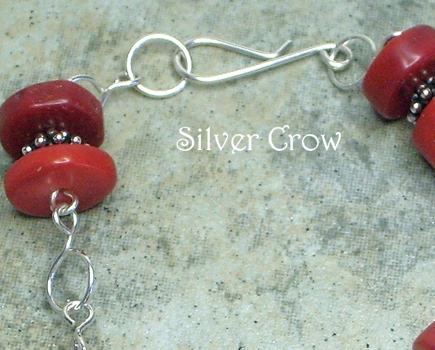 Red Coral & Argentium Sterling Silver Chain Style Bracelet