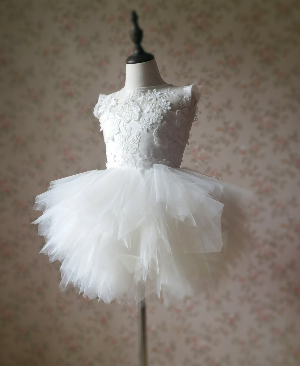 WHITE Lace Tutu High Waist Dress White Knee Length Wedding Flower Girl Dress NWT