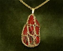 Brecciated Jasper w/Goldtone Filigree Like Mounting. GP-Chain 28 inch = ... - $29.95