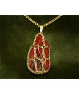 Brecciated Jasper w/Goldtone Filigree Like Mounting. GP-Chain 28 inch = ... - $29.95