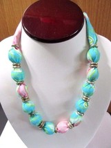 UNUSUAL FABRIC COVERED BEADED NECKLACE TURQUOISE PINK NEON GREEN PEA POD... - $22.00