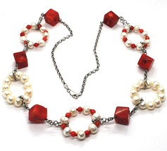 Necklace Silver 925, Circles Pearls And Coral Alternating, Cubes Of Coral image 1