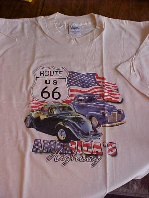 Men's Unisex NWOT XL Off White Route 66 Highway 100% Cotton