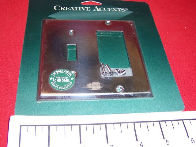 2 Gang Creative Accents Polished Chrome Wall Plate 1Toggle Switch 1 Rocker GFCI