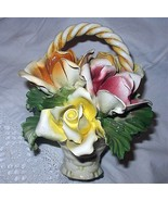 Beautiful Capodimonte Roses In Basket Display-Heavy Porcelai - $78.20