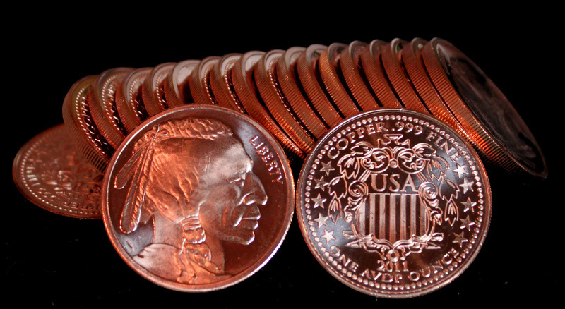 20 1 oz 2011 999 fine copper bullion indian head rounds  38288 zoom