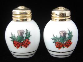 Salt and Pepper Shakers Milk Glass ScottishThistle And Tartan Souvenir S... - $16.00
