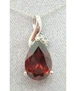 14K Gold Teardrop Genuine Natural Garnet Pendant with Diamonds (#J1747) - $382.50