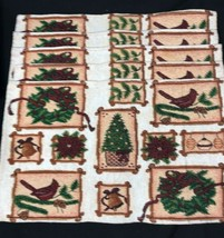 5 Vtg Christmas Holiday Tapestry Jacquard Woven Placemats Poinsettia 19 ... - $31.49