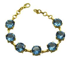 Blue Gold Plated Glass pleasing Blue Topaz CZ jaipur Bracelet AU gift - $18.18