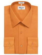 Berlioni Italy Men Orange Classic French Convertible Cuff Solid Dress Shirt - XL image 2