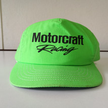 Vintage Motorcraft Racing Snapback Neon Green Hat Made in USA - $9.74