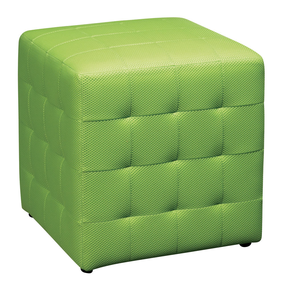 Green Square Mesh Fabric Cube Ottoman Footstool Side